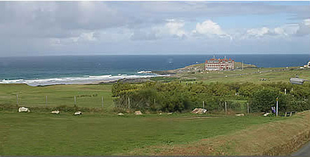 The view of Fistral Beach and the headland, looking across the 18 hole golf course.
